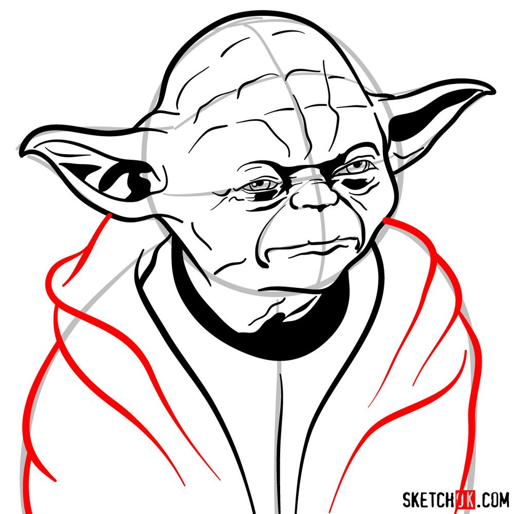 How to draw Yoda's face - step 12