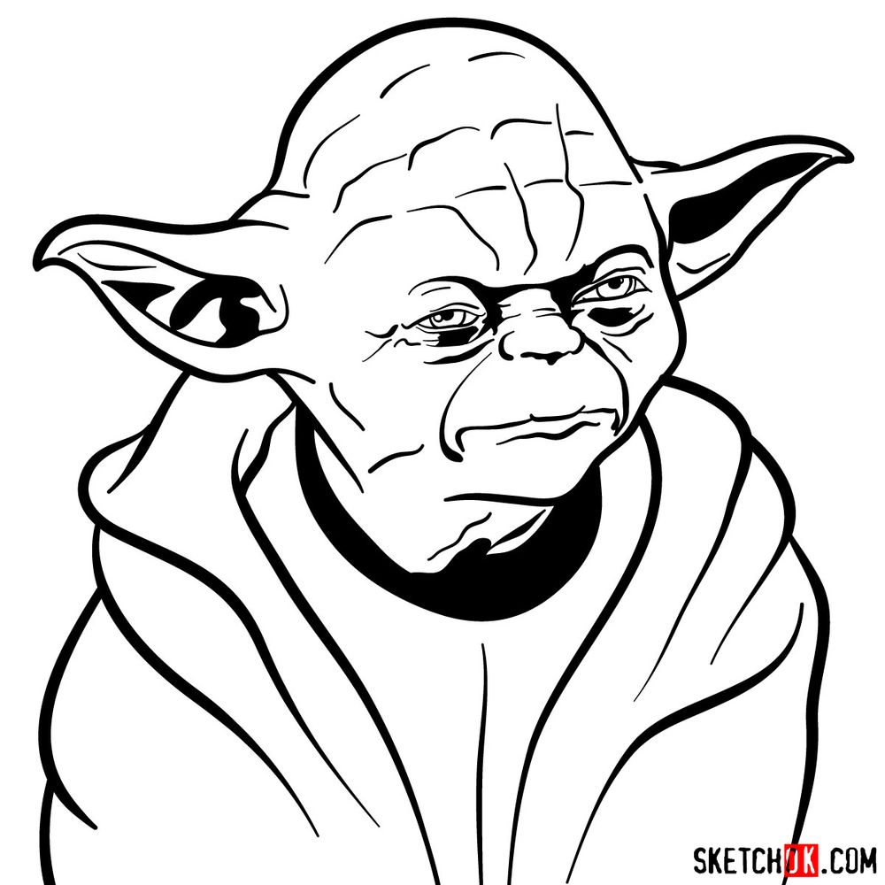 How to draw Yoda's face - step 13