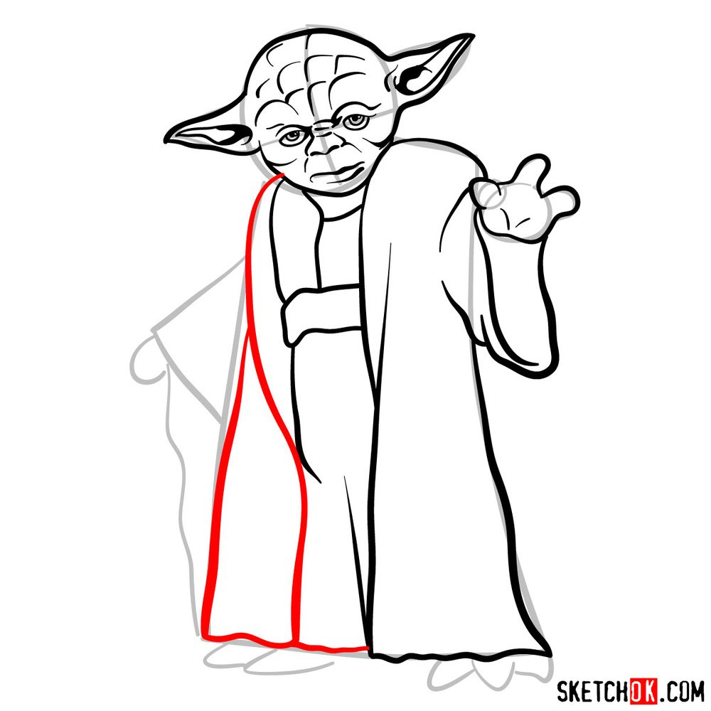 How to draw Yoda from Star Wars - step 10