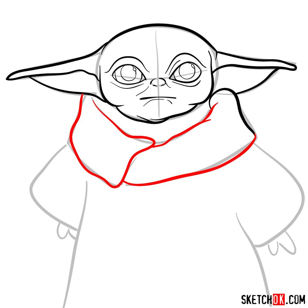 How to draw Baby Yoda - step 07