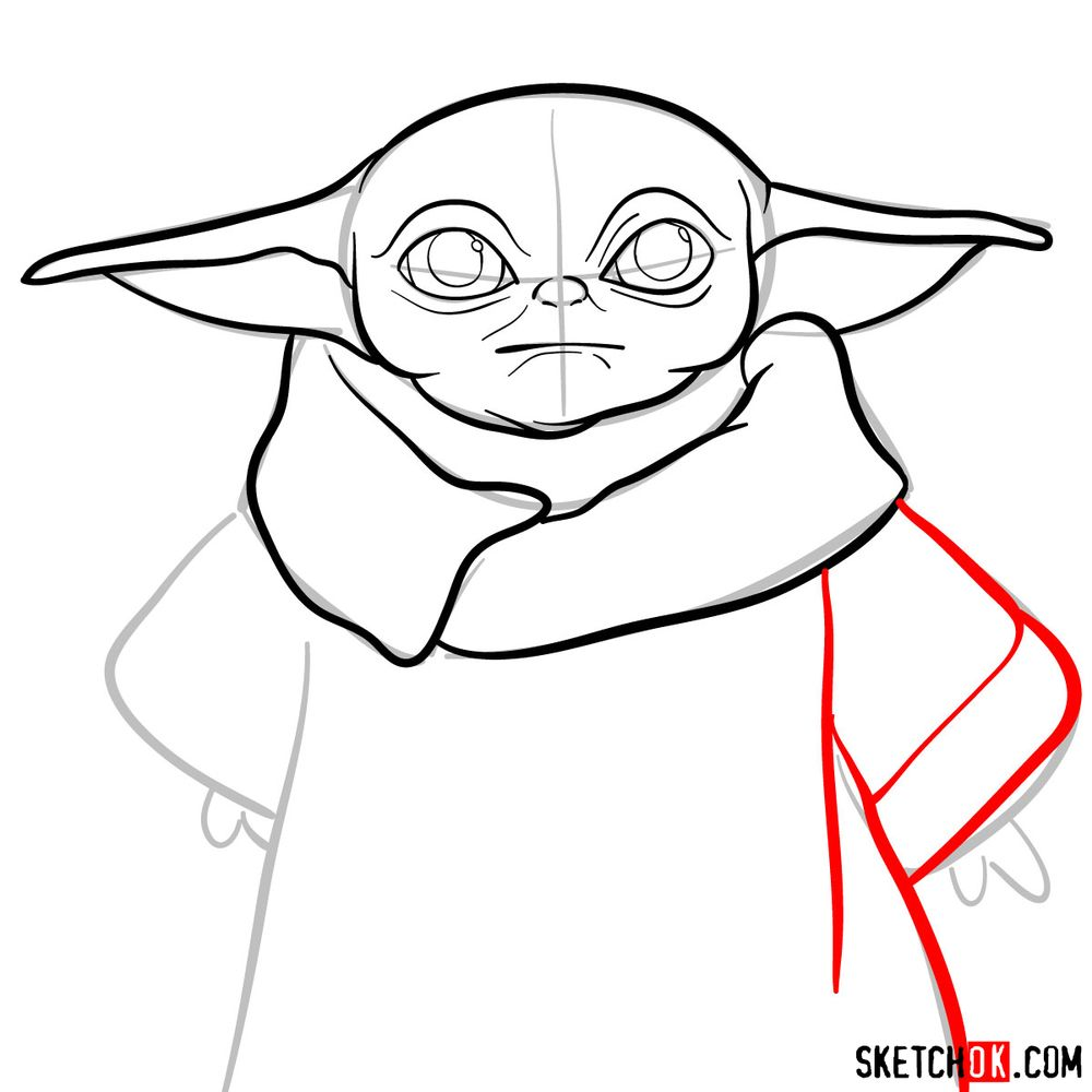 How to draw Baby Yoda - step 08