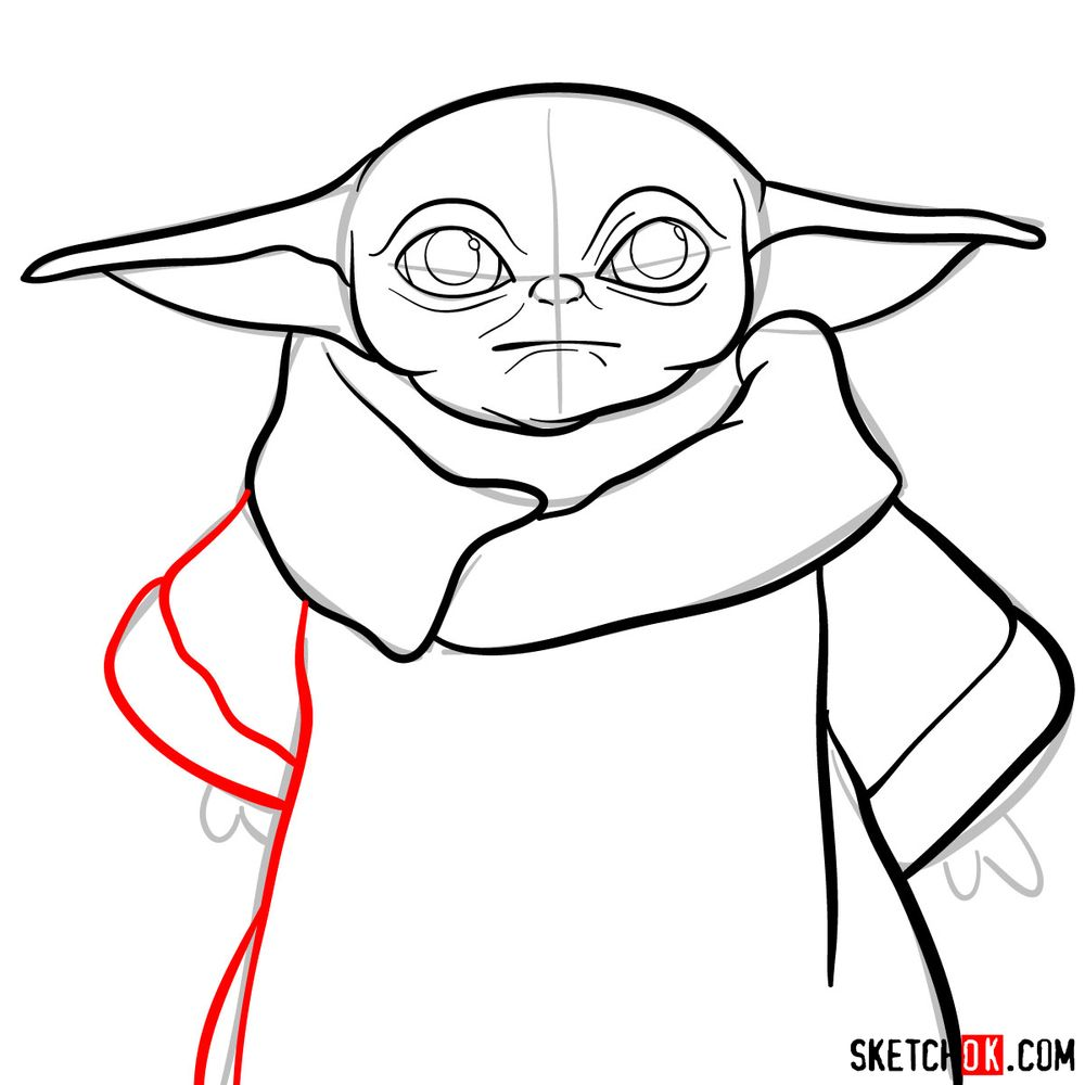How to draw Baby Yoda - step 09