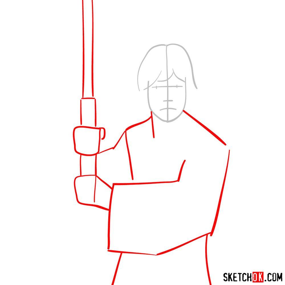 How to draw Luke Skywalker - step 02