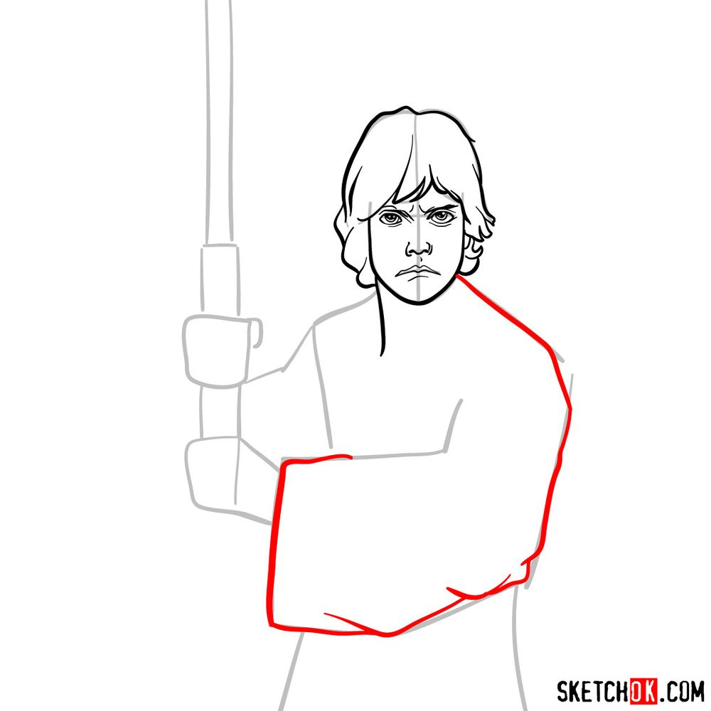 How to draw Luke Skywalker - step 08