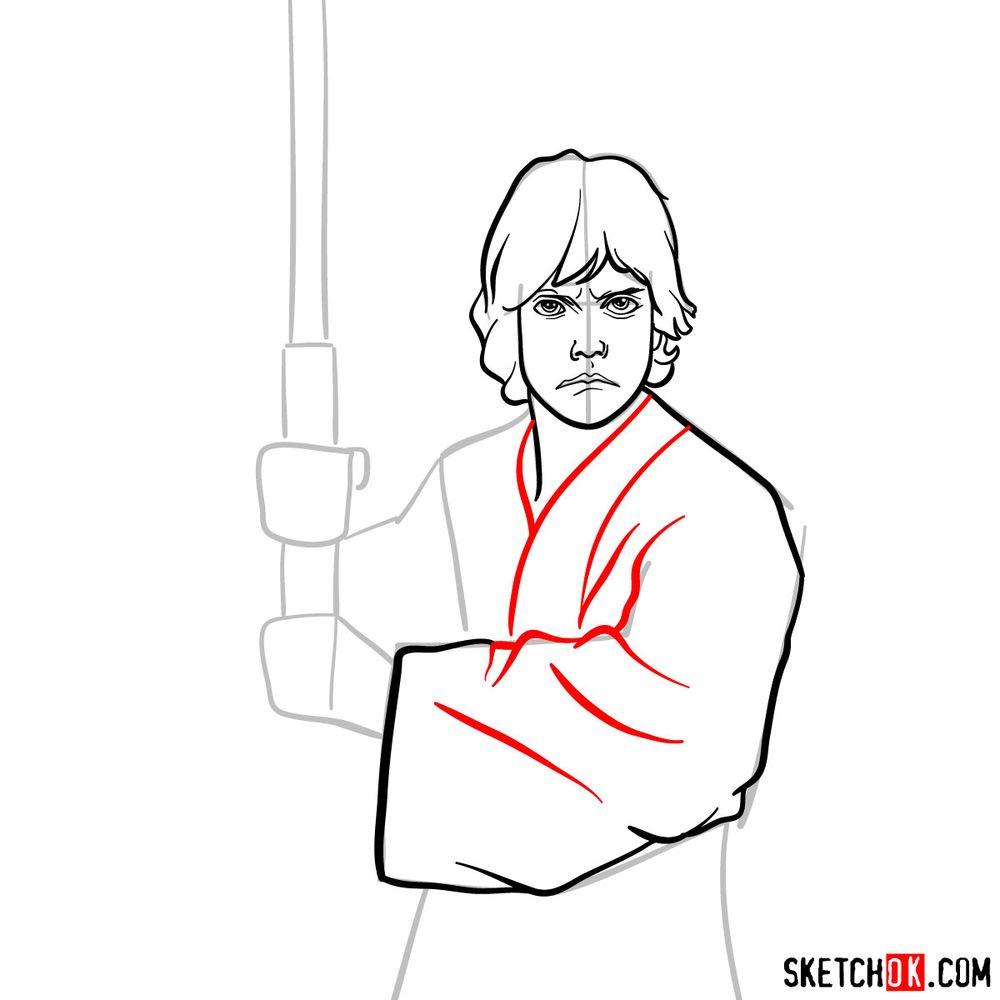 How to draw Luke Skywalker - step 09