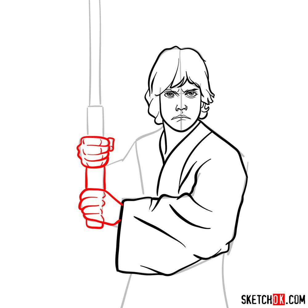 How to draw Luke Skywalker - step 10