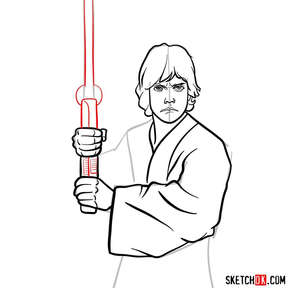 How to draw Luke Skywalker - step 11