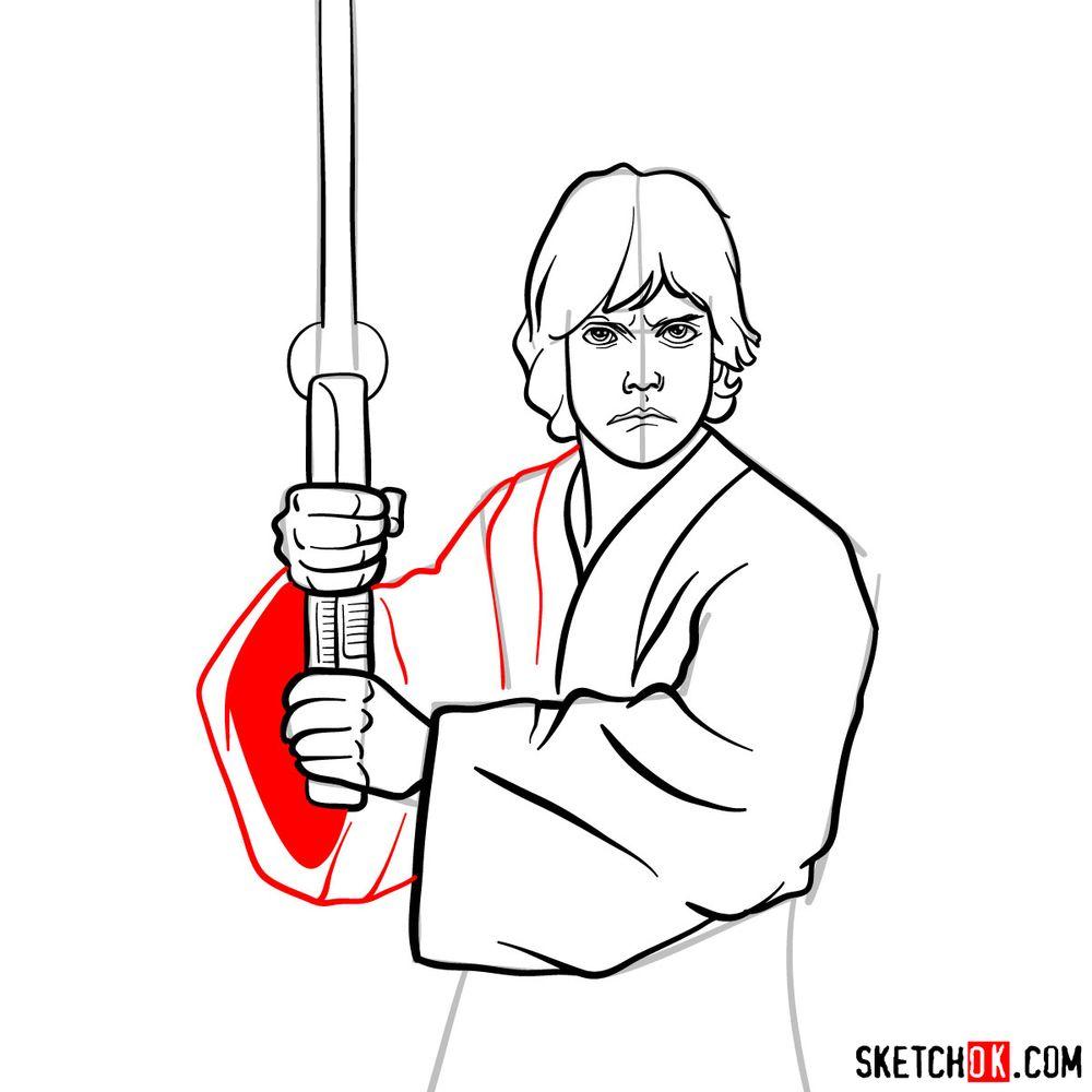How to draw Luke Skywalker - step 12