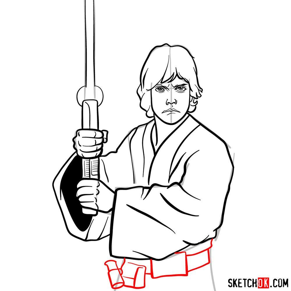 How to draw Luke Skywalker - step 13