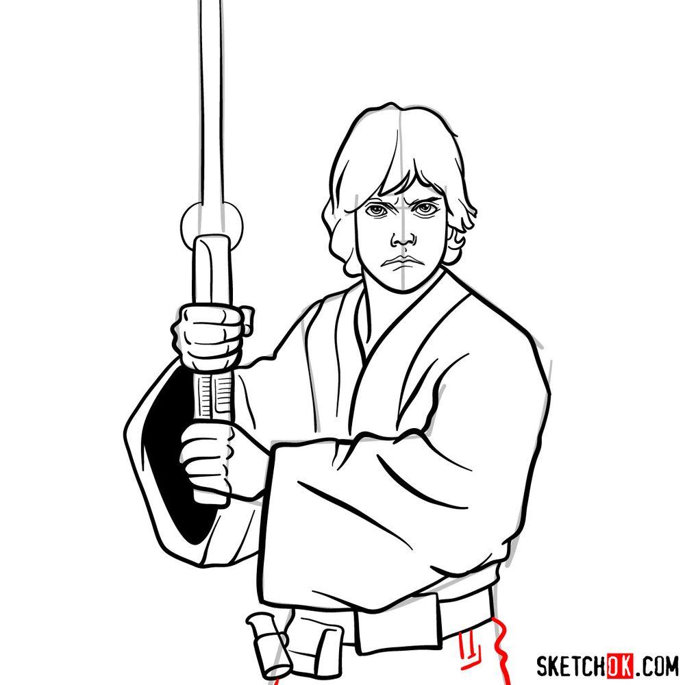 How to draw Luke Skywalker - step 14