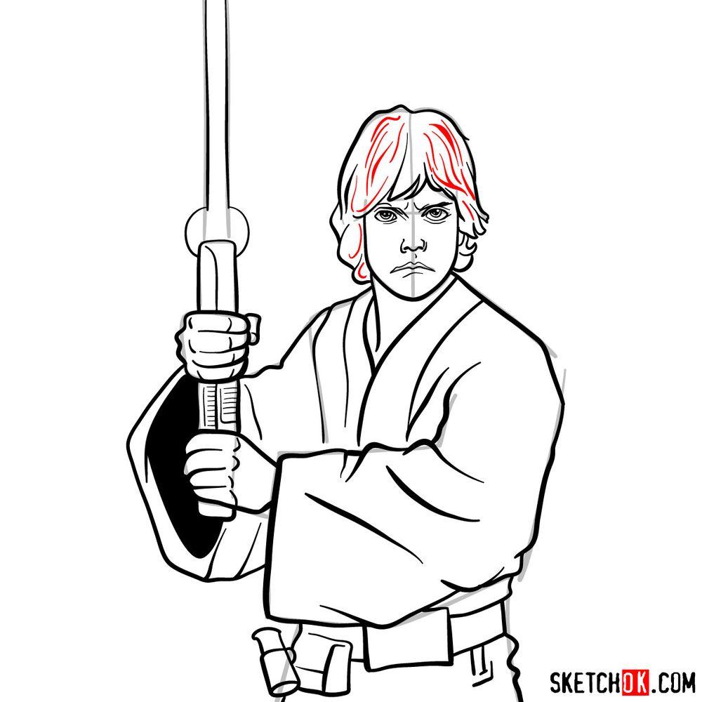 How to draw Luke Skywalker - step 15