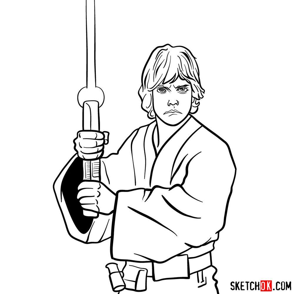How to draw Luke Skywalker - step 16