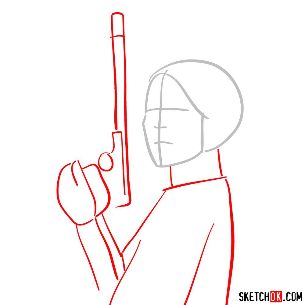 How to draw Princess Leia - step 02
