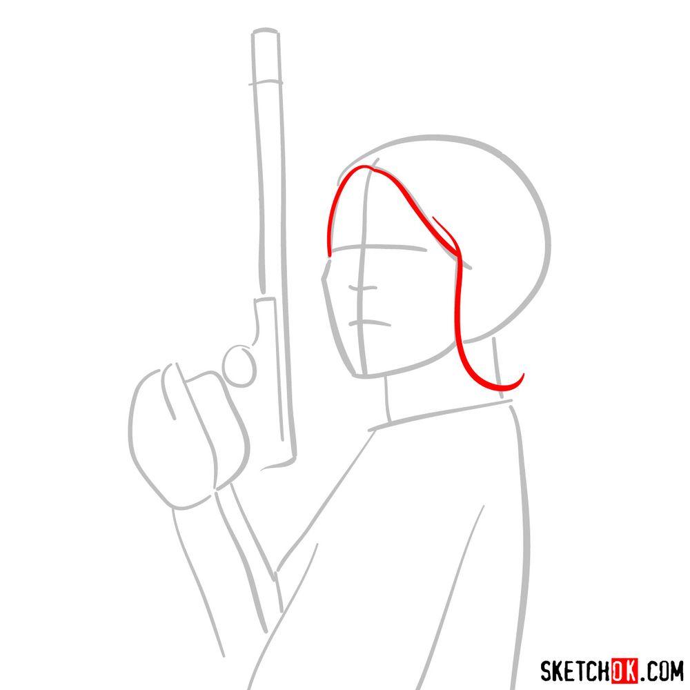 How to draw Princess Leia - step 03