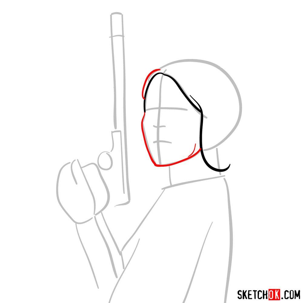 How to draw Princess Leia - step 04