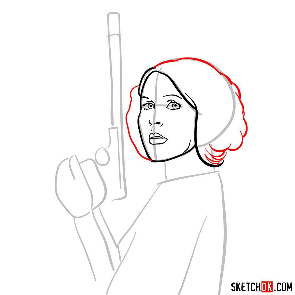 How to draw Princess Leia - step 07