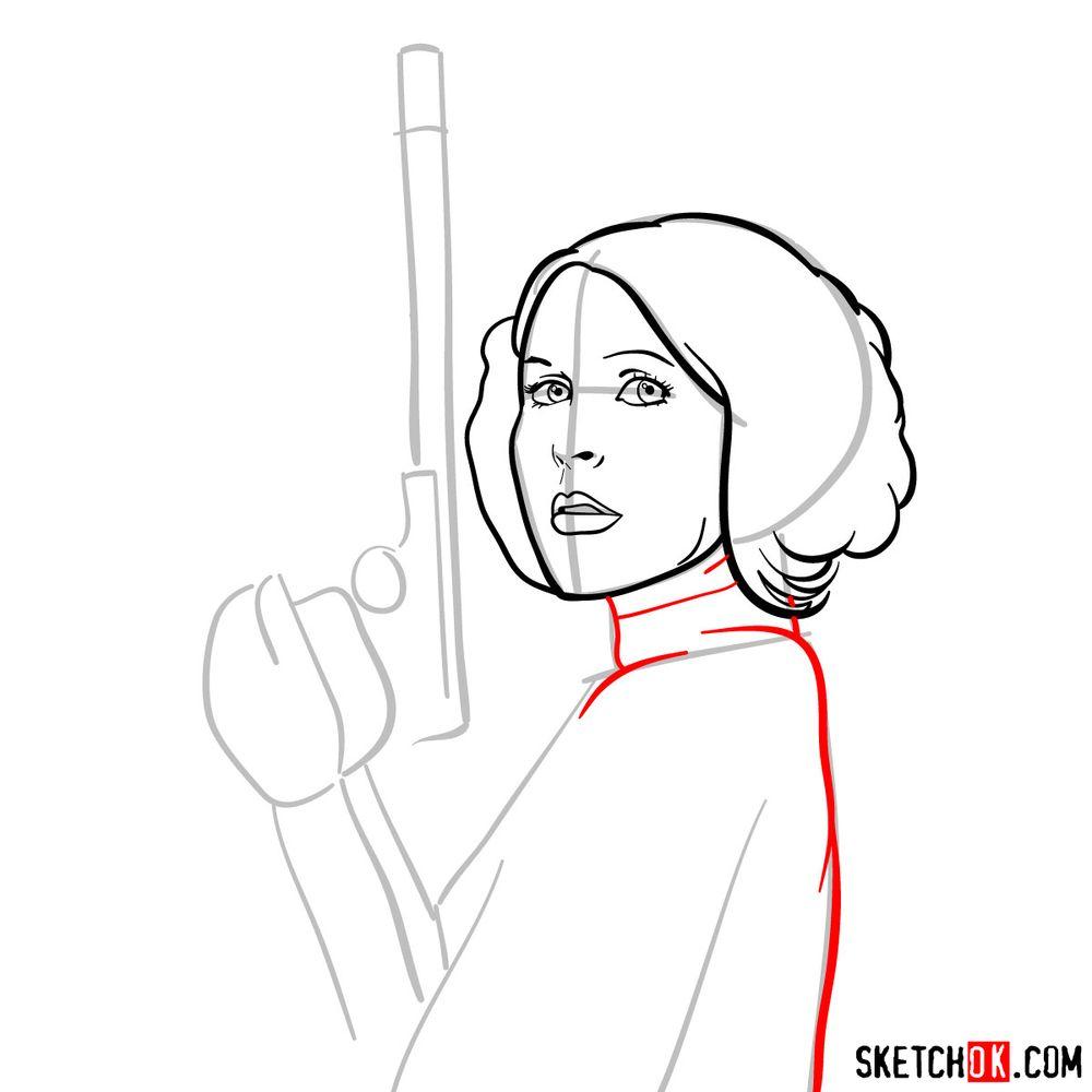 How to draw Princess Leia - step 08