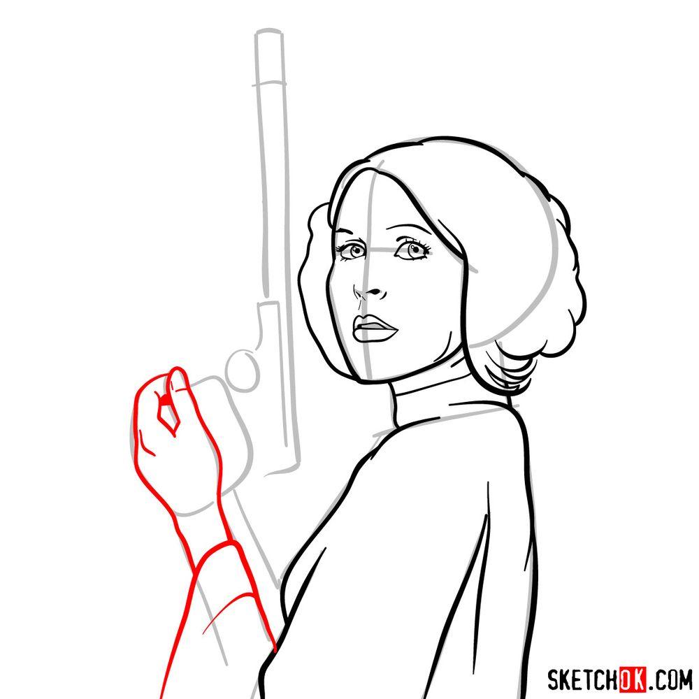 How to draw Princess Leia - step 10