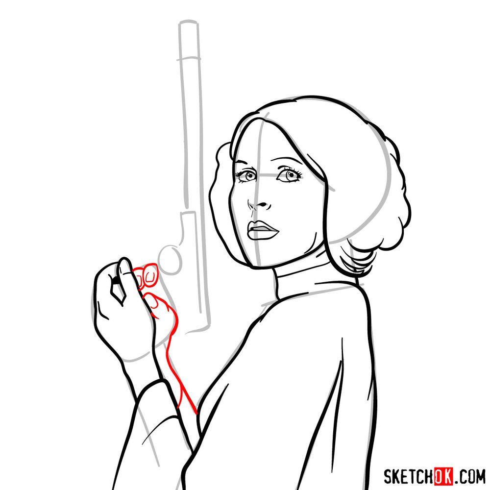 How to draw Princess Leia - step 11