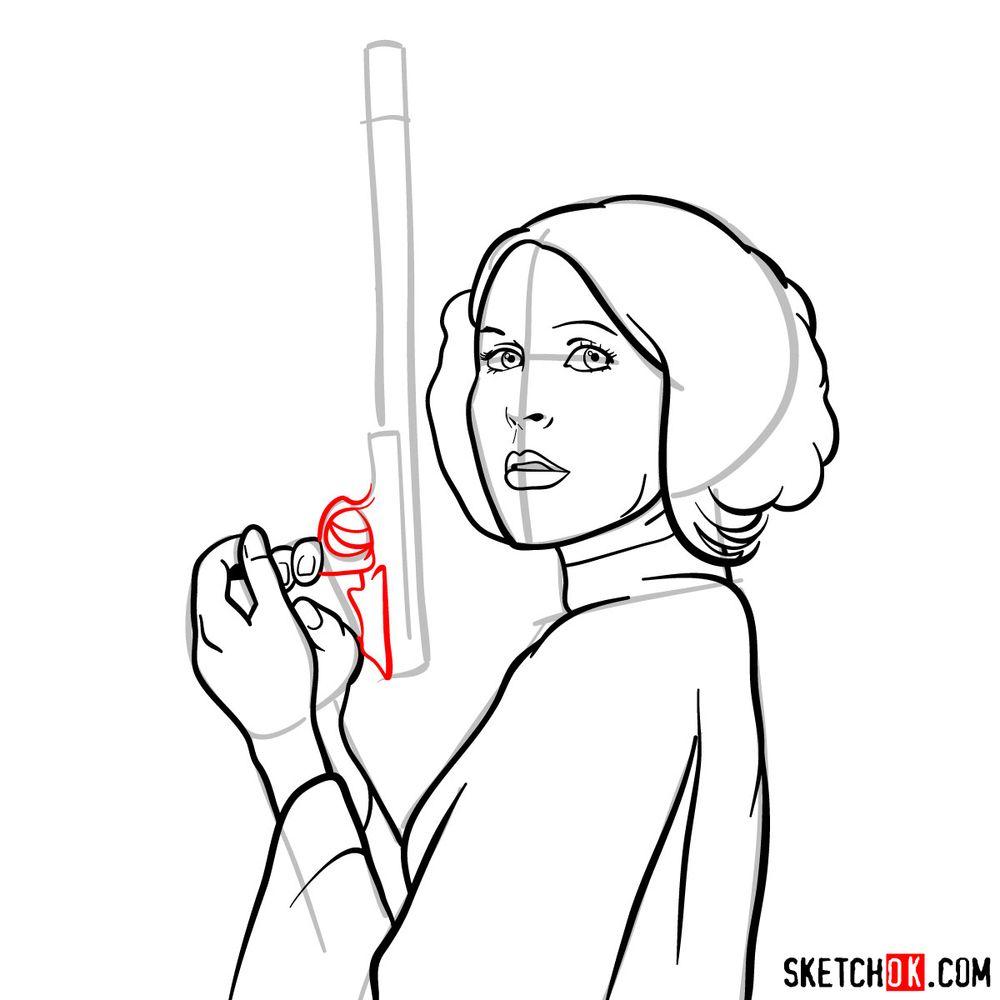 How to draw Princess Leia - step 12