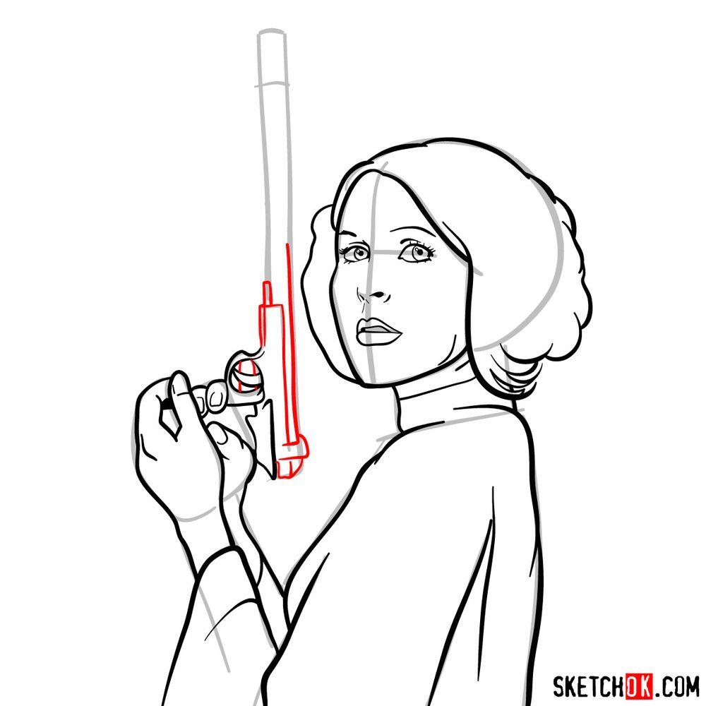 How to draw Princess Leia - step 13