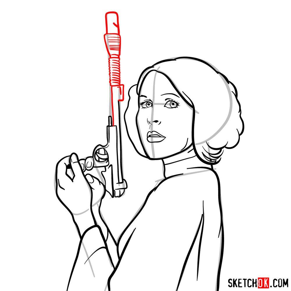 How to draw Princess Leia - step 14
