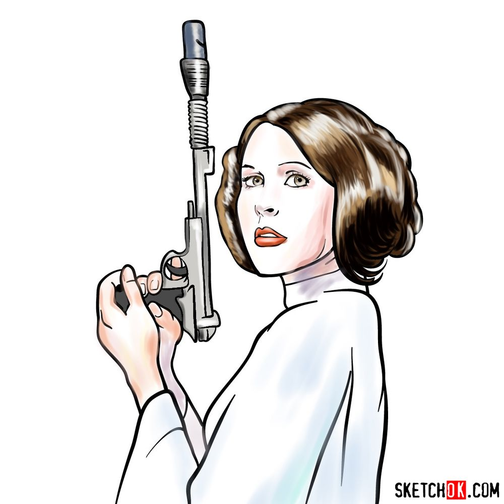 How to draw Princess Leia