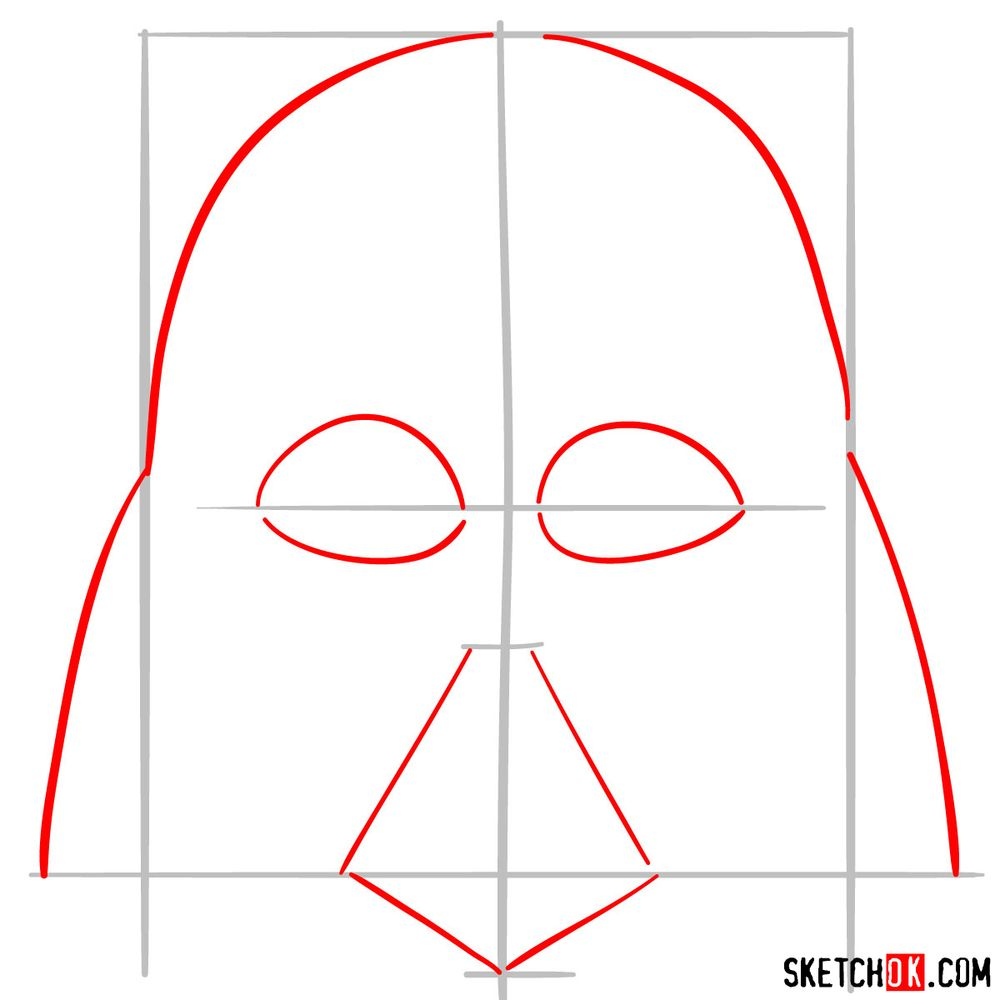 How to draw Darth Vader's mask - step 02