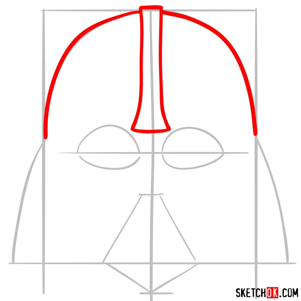 How to draw Darth Vader's mask - step 03