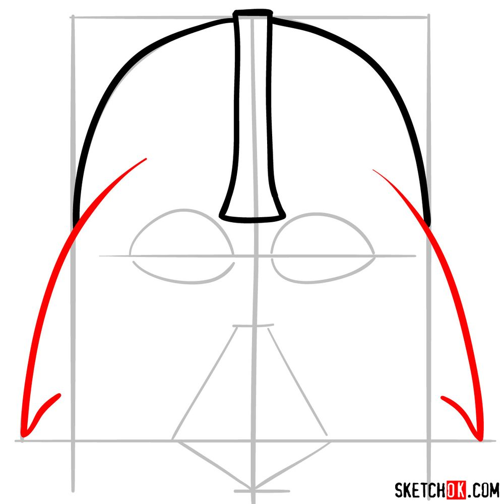 How to draw Darth Vader's mask - step 04