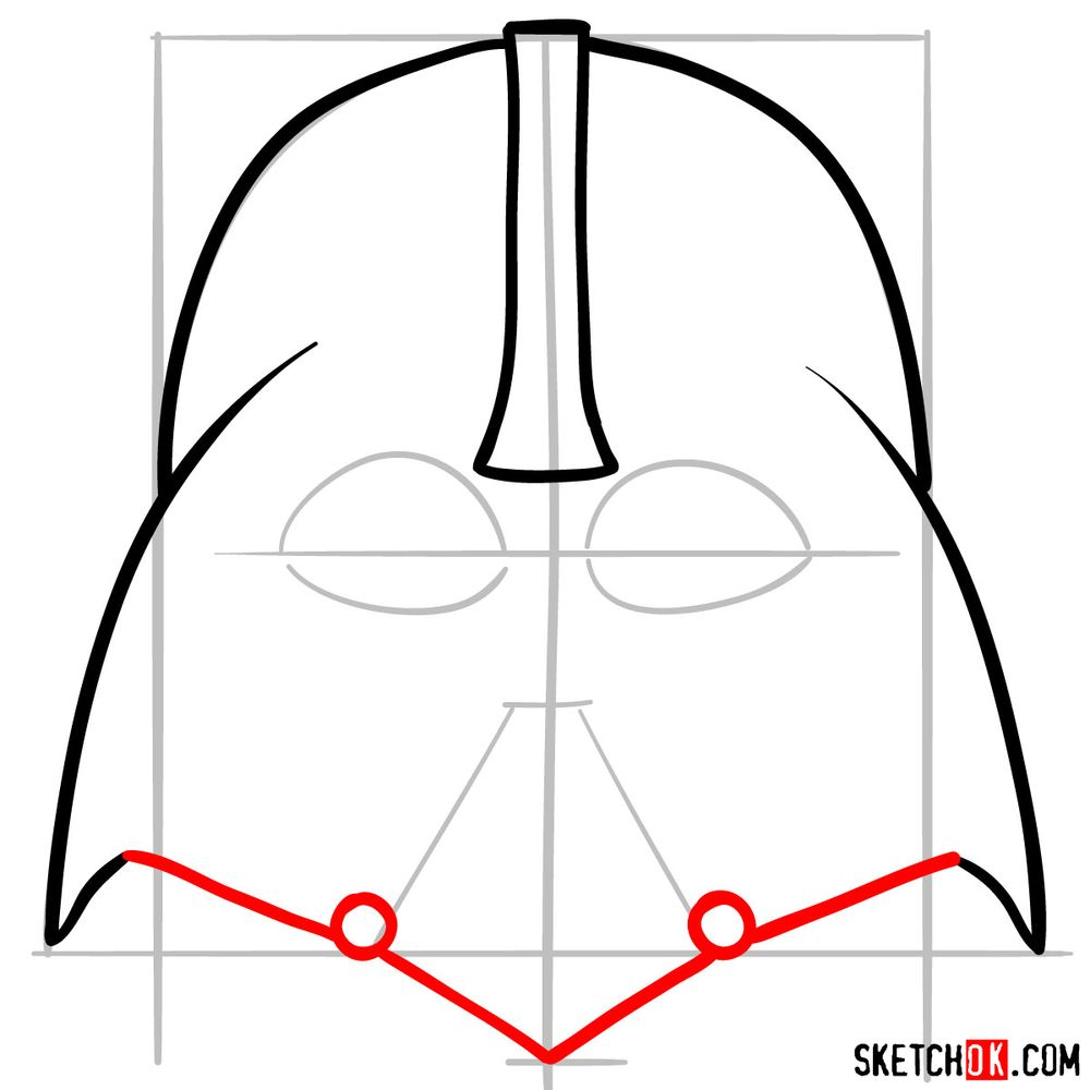 How to draw Darth Vader's mask - step 05