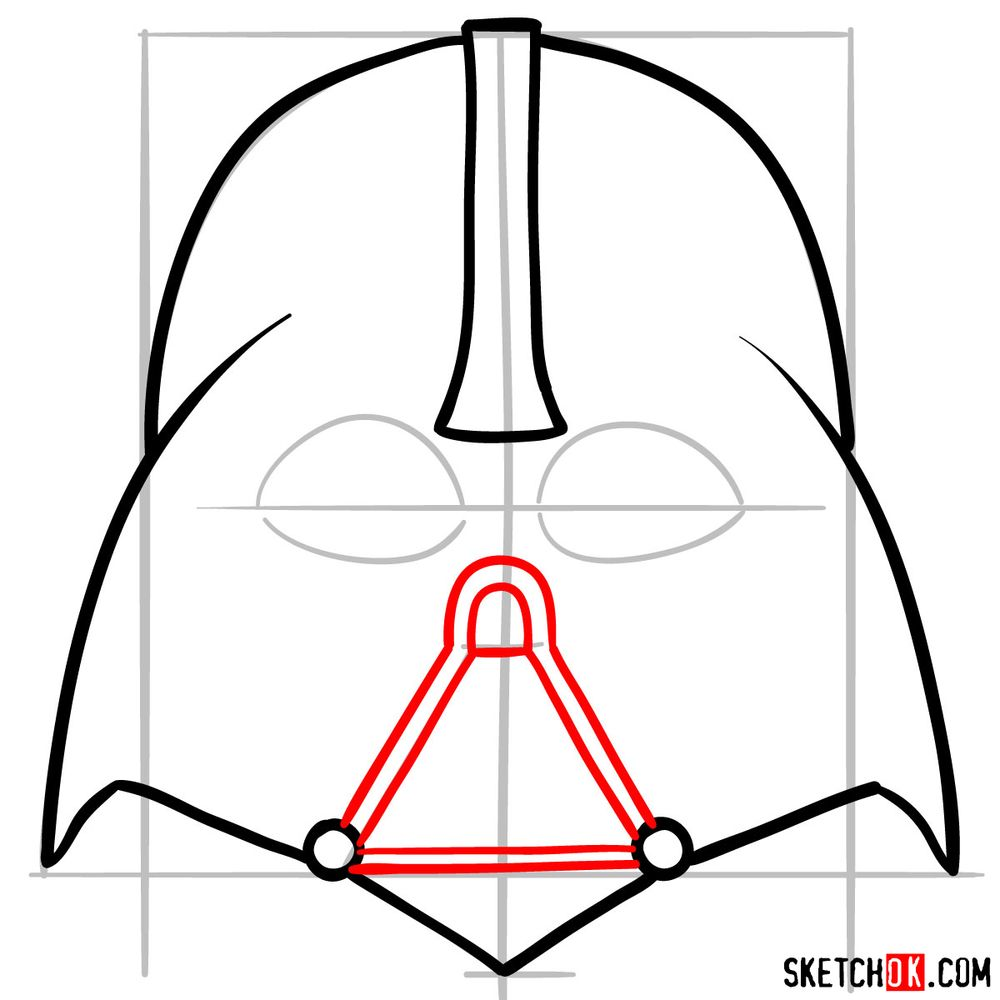 How to draw Darth Vader's mask - step 06