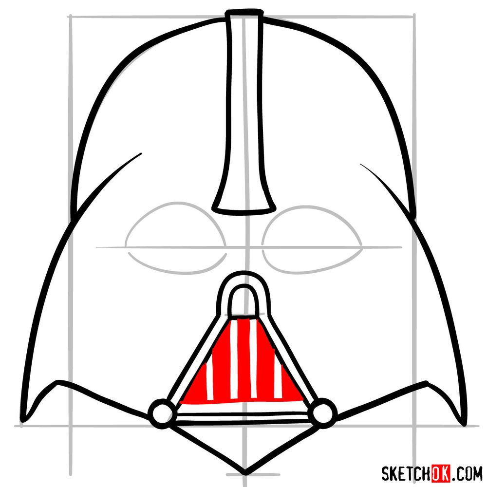 How to draw Darth Vader's mask - step 07