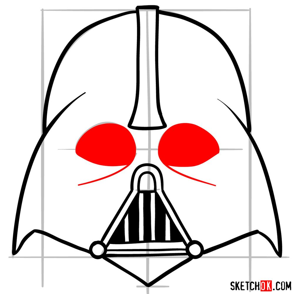 How to draw Darth Vader's mask - step 08