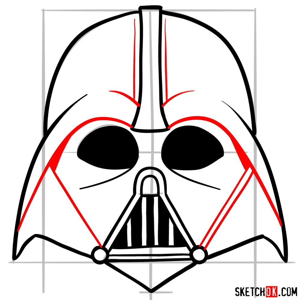 How to draw Darth Vader's mask - step 09