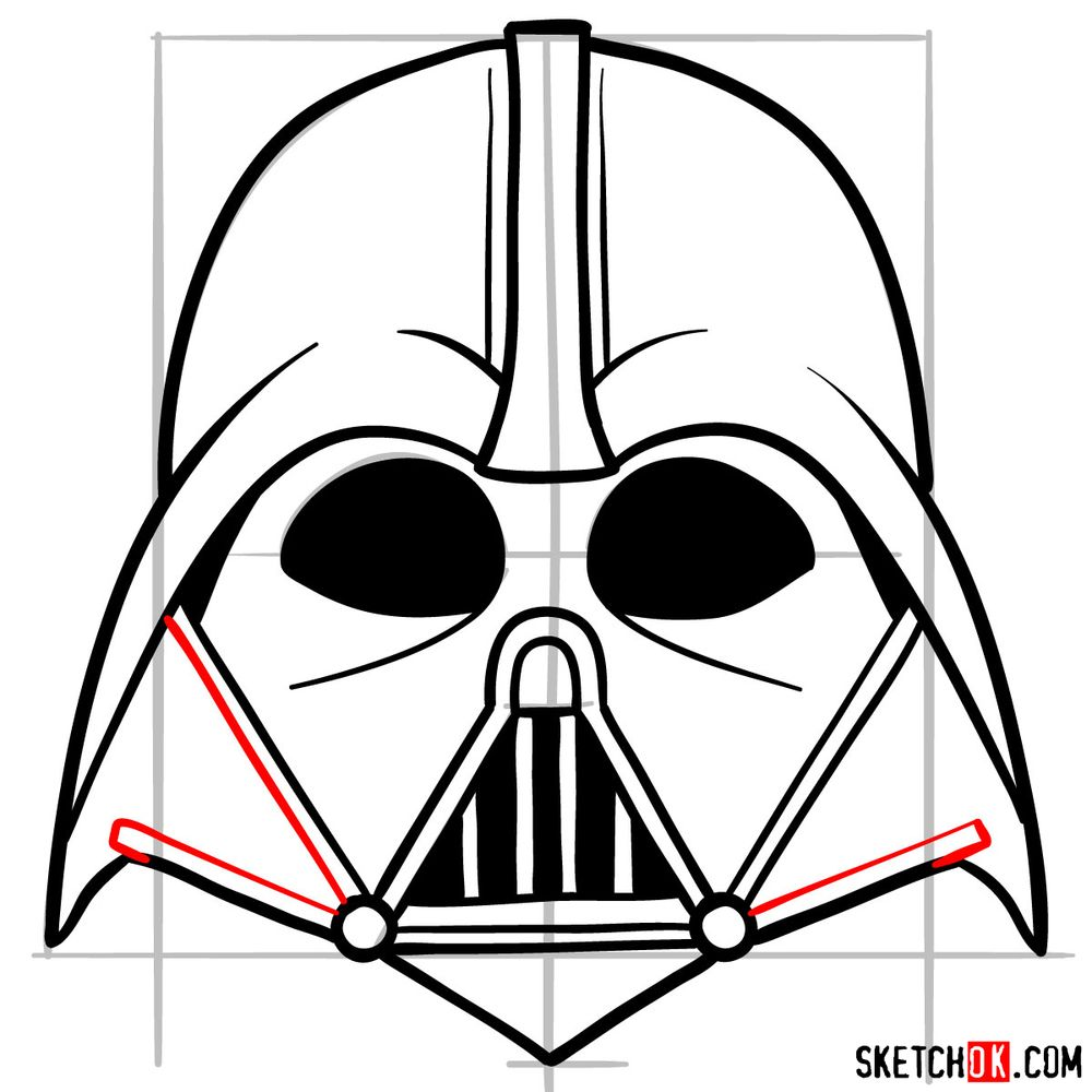 How to draw Darth Vader's mask - step 10