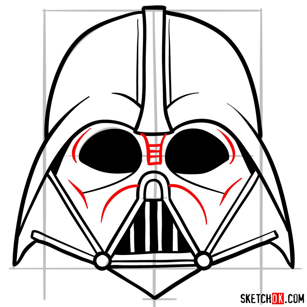 How to draw Darth Vader's mask - step 11