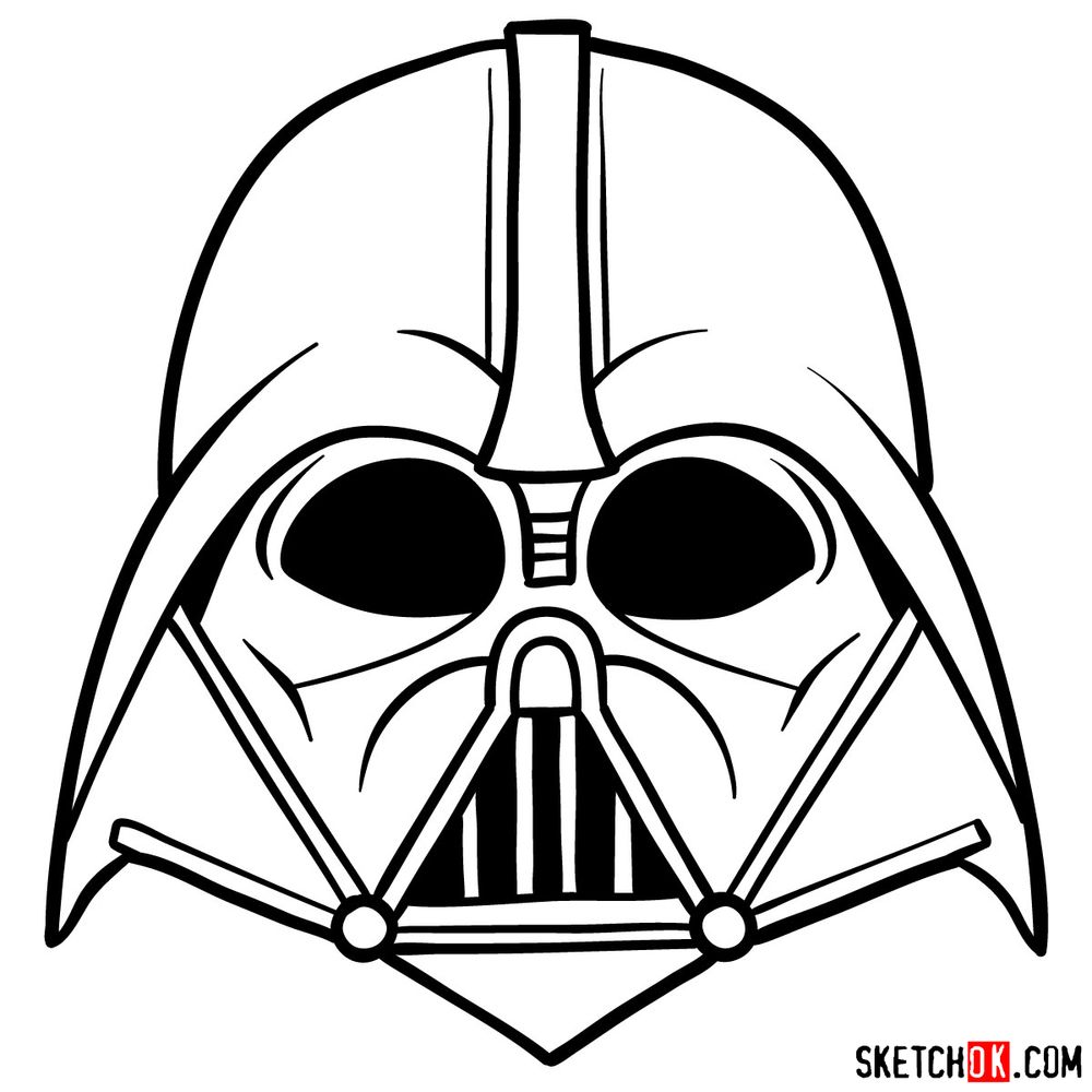 How to draw Darth Vader's mask - step 12