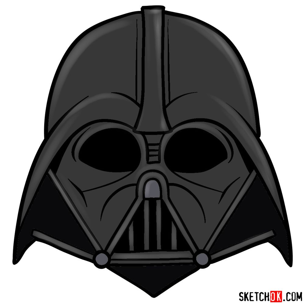 How to draw Darth Vader's mask