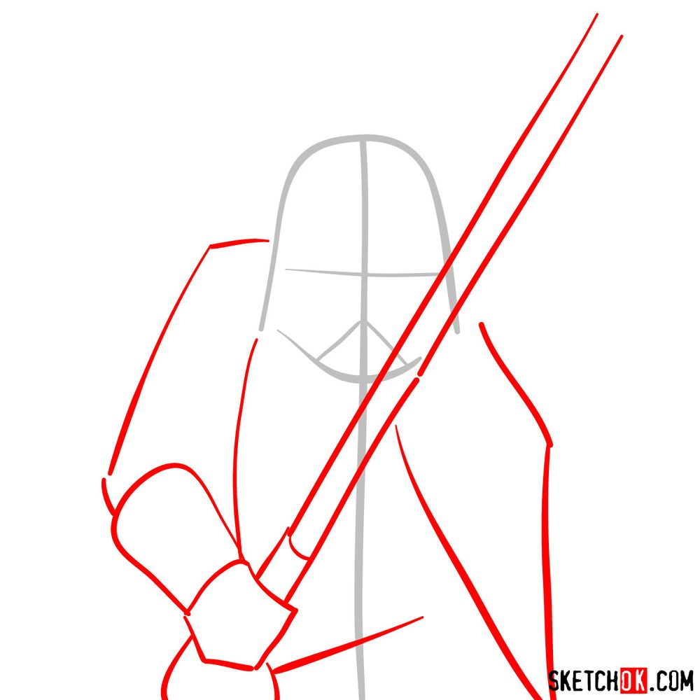 How to draw Darth Vader - step 02