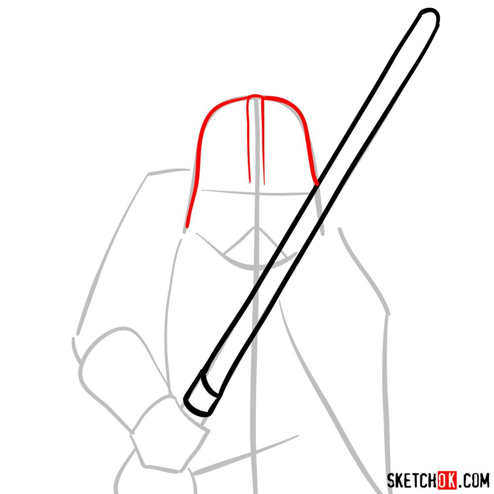 How to draw Darth Vader - step 04