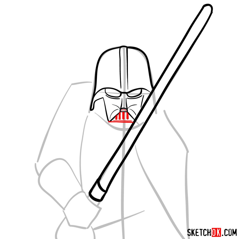 How to draw Darth Vader - step 07