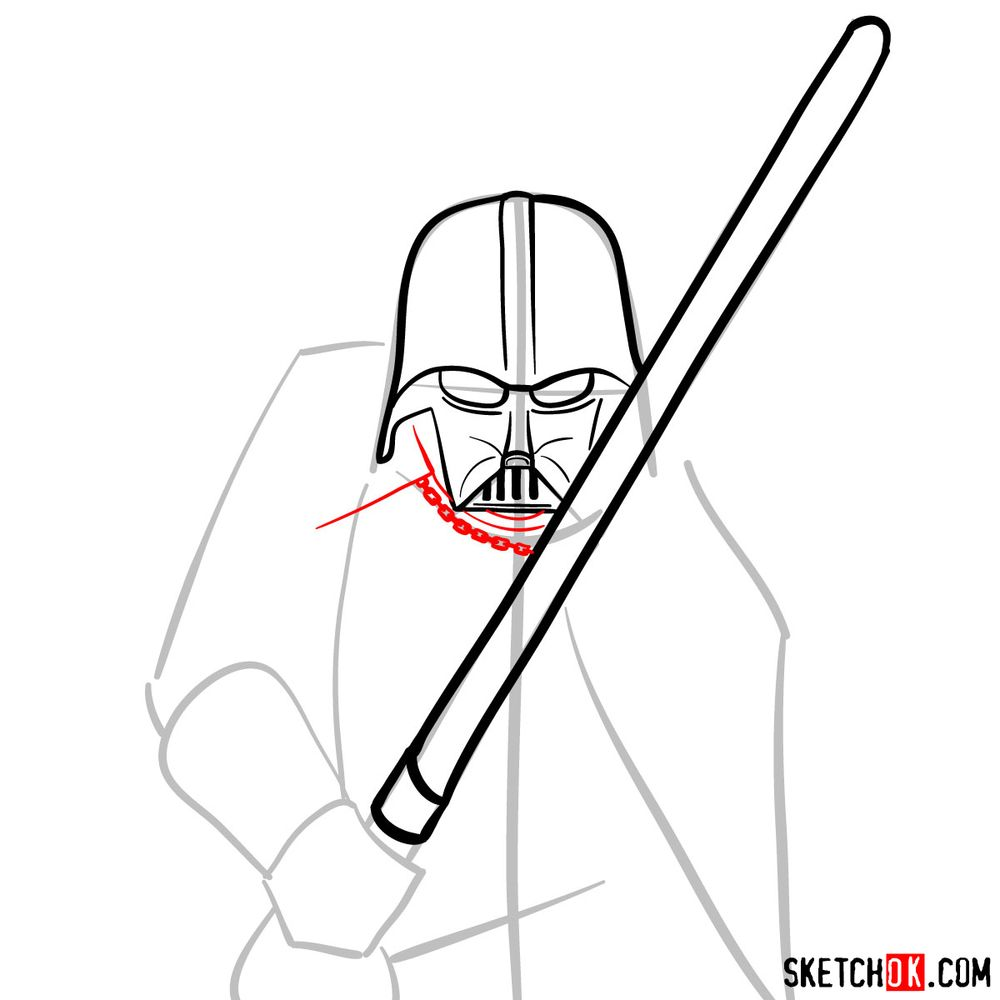 How to draw Darth Vader - step 08