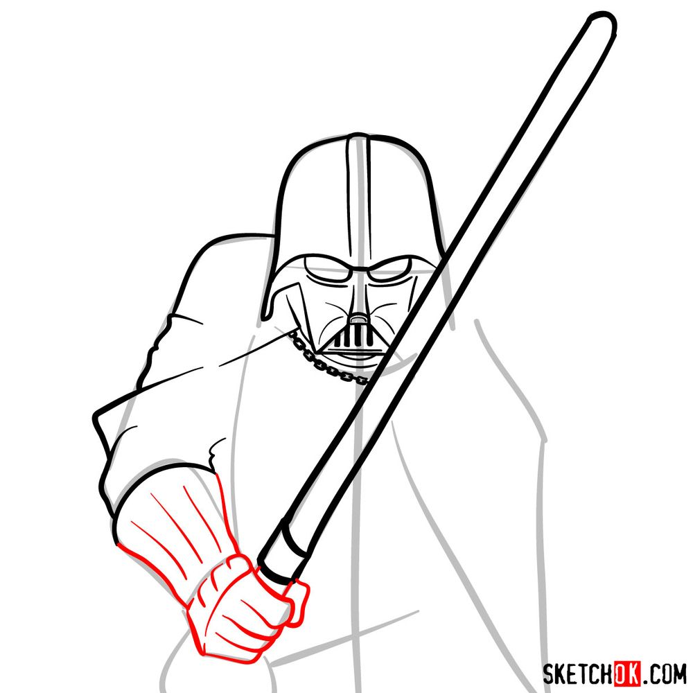 How to draw Darth Vader - step 10