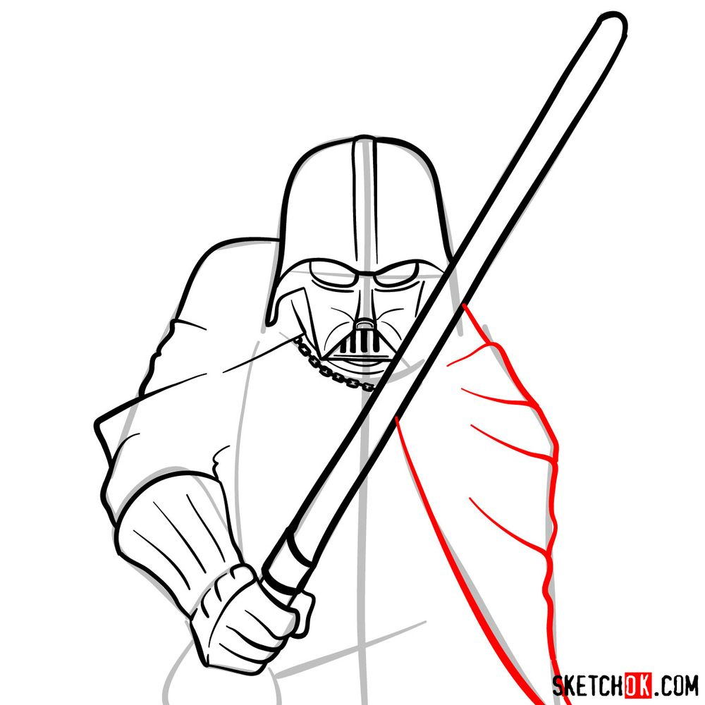 How to draw Darth Vader - step 11