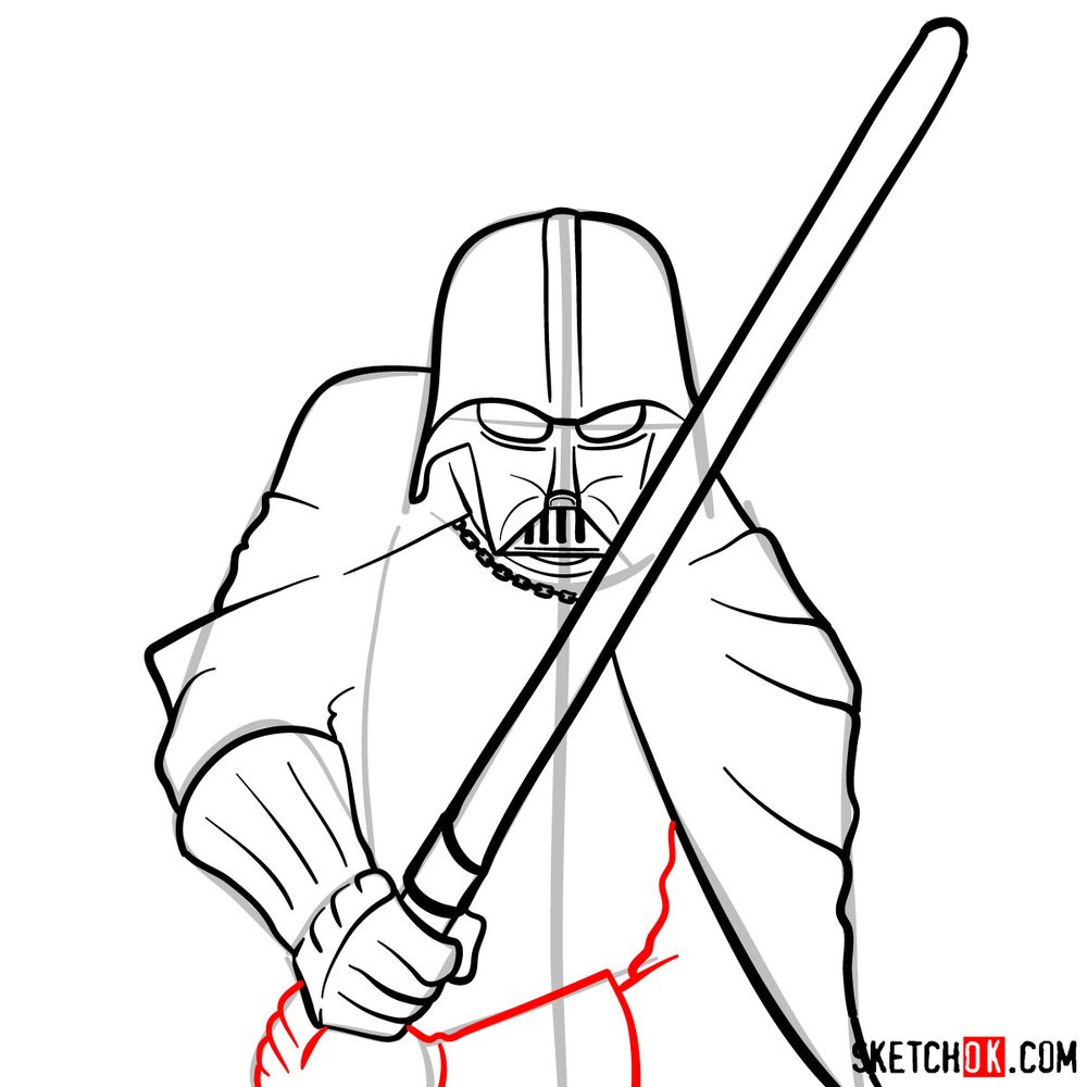 How to draw Darth Vader - step 12