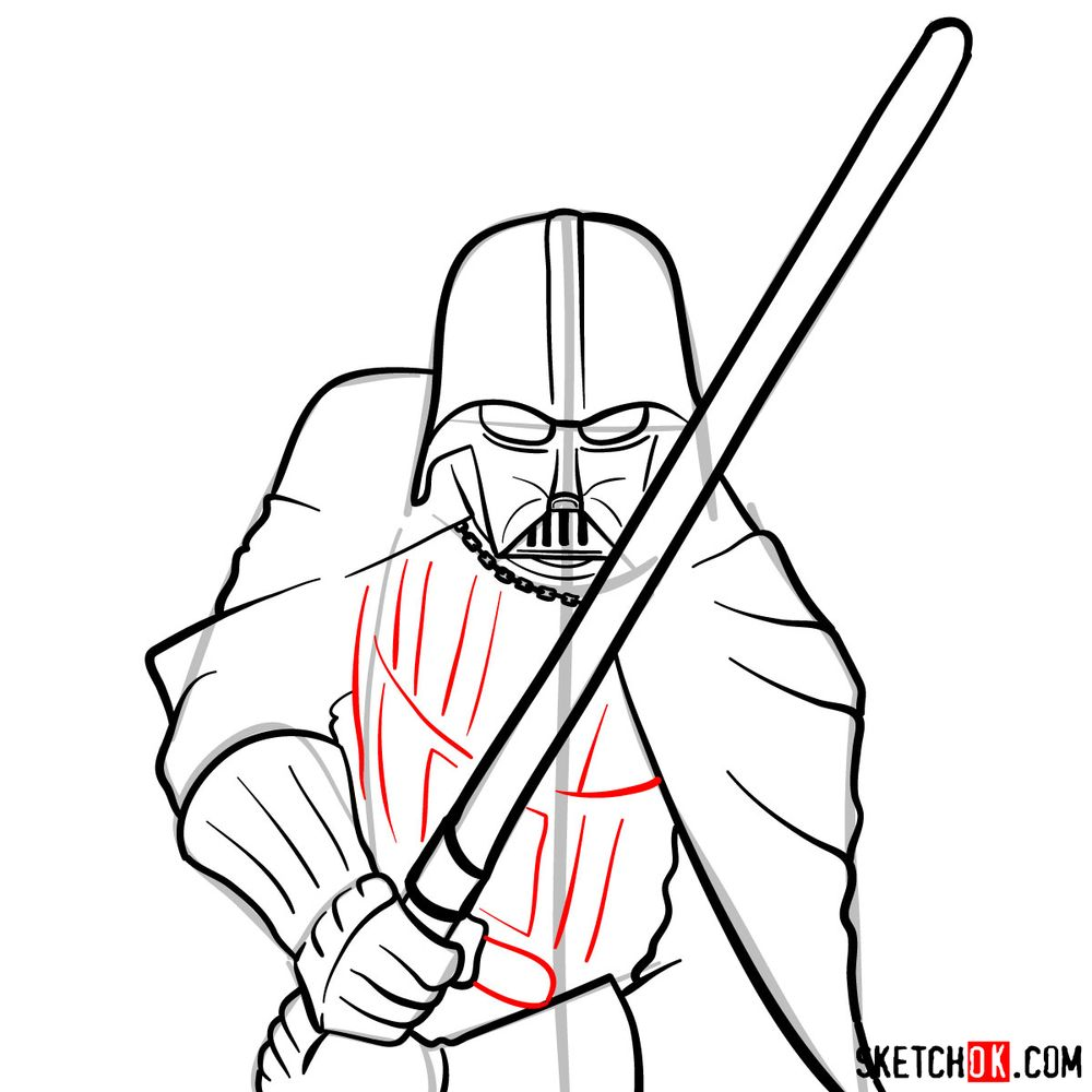 How to draw Darth Vader - step 13