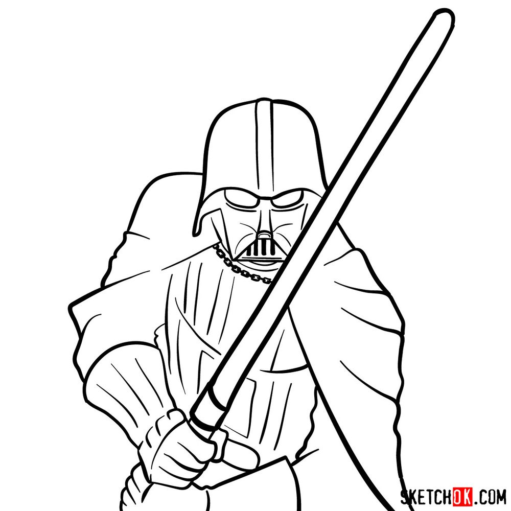 How to draw Darth Vader - step 14