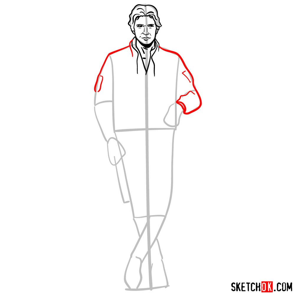 How to draw Han Solo in full growth - step 08