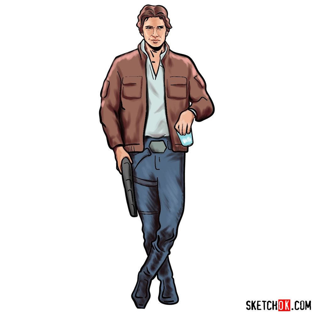 How to draw Han Solo in full growth